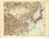 China Japan historische Landkarte Lithographie ca. 1908