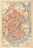 Danzig historischer Stadtplan Karte Lithographie ca. 1903