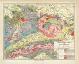 Deutschland geologisch historische Landkarte Lithographie...