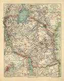 Deutsch Ostafrika historische Landkarte Lithographie ca....