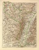 Elsass Lothringen historische Landkarte Lithographie ca....