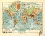 Erdkarte in Mercators Projektion historische Landkarte...