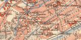 Erfurt historischer Stadtplan Karte Lithographie ca. 1905