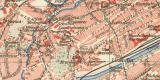 Erfurt historischer Stadtplan Karte Lithographie ca. 1912
