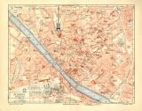 Florenz historischer Stadtplan Karte Lithographie ca. 1905