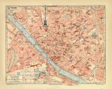 Florenz historischer Stadtplan Karte Lithographie ca. 1907