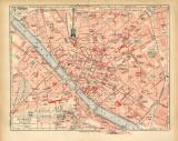 Florenz historischer Stadtplan Karte Lithographie ca. 1918