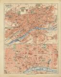 Frankfurt a.M. historischer Stadtplan Karte Lithographie...