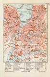 Genf historischer Stadtplan Karte Lithographie ca. 1906