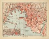 Genua historischer Stadtplan Karte Lithographie ca. 1906