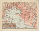 Genua historischer Stadtplan Karte Lithographie ca. 1910
