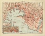 Genua historischer Stadtplan Karte Lithographie ca. 1912