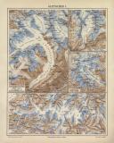 Gletscher I. historische Landkarte Lithographie ca. 1904