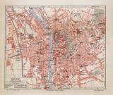 Graz historischer Stadtplan Karte Lithographie ca. 1906