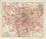Graz historischer Stadtplan Karte Lithographie ca. 1908