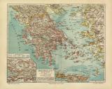 Griechenland historische Landkarte Lithographie ca. 1906