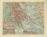 Griechenland historische Landkarte Lithographie ca. 1908