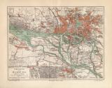 Hamburg Umgebung historischer Stadtplan Karte...