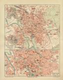 Hannover historischer Stadtplan Karte Lithographie ca. 1904