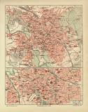 Hannover historischer Stadtplan Karte Lithographie ca. 1910