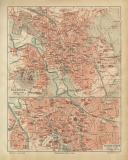 Hannover historischer Stadtplan Karte Lithographie ca. 1918