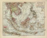 Hinterindien Malaien Archipel historische Landkarte...