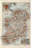 Irland historische Landkarte Lithographie ca. 1908