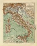 Italien historische Landkarte Lithographie ca. 1907