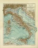 Italien historische Landkarte Lithographie ca. 1909