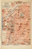 Kairo historischer Stadtplan Karte Lithographie ca. 1908