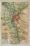 Kairo Umgebung historischer Stadtplan Karte Lithographie...
