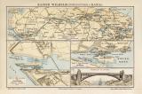 Kaiser Wilhelm Kanal historische Landkarte Lithographie...