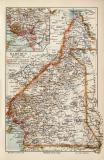 Kamerun historische Landkarte Lithographie ca. 1906