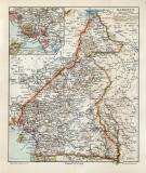 Kamerun historische Landkarte Lithographie ca. 1907