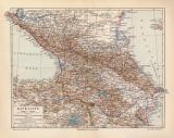 Kaukasien historische Landkarte Lithographie ca. 1910