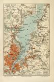 Kieler Hafen historischer Stadtplan Karte Lithographie...