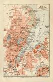 Kiel historischer Stadtplan Karte Lithographie ca. 1908