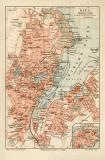 Kiel historischer Stadtplan Karte Lithographie ca. 1910