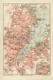 Kiel historischer Stadtplan Karte Lithographie ca. 1912
