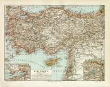 Kleinasien historische Landkarte Lithographie ca. 1905