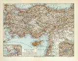 Kleinasien historische Landkarte Lithographie ca. 1912