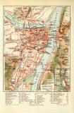 Koblenz historischer Stadtplan Karte Lithographie ca. 1908