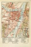 Koblenz historischer Stadtplan Karte Lithographie ca. 1910