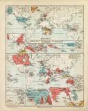 Kolonien I. - II. historische Landkarte Lithographie ca....