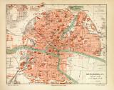 Königsberg historischer Stadtplan Karte Lithographie ca....