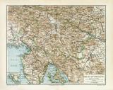 Krain Küstenland historische Landkarte Lithographie...