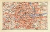London Umgebung historischer Stadtplan Karte Lithographie...