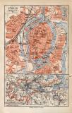 Lübeck historischer Stadtplan Karte Lithographie ca. 1914