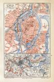 Lübeck historischer Stadtplan Karte Lithographie ca. 1908