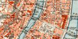 Lyon historischer Stadtplan Karte Lithographie ca. 1906